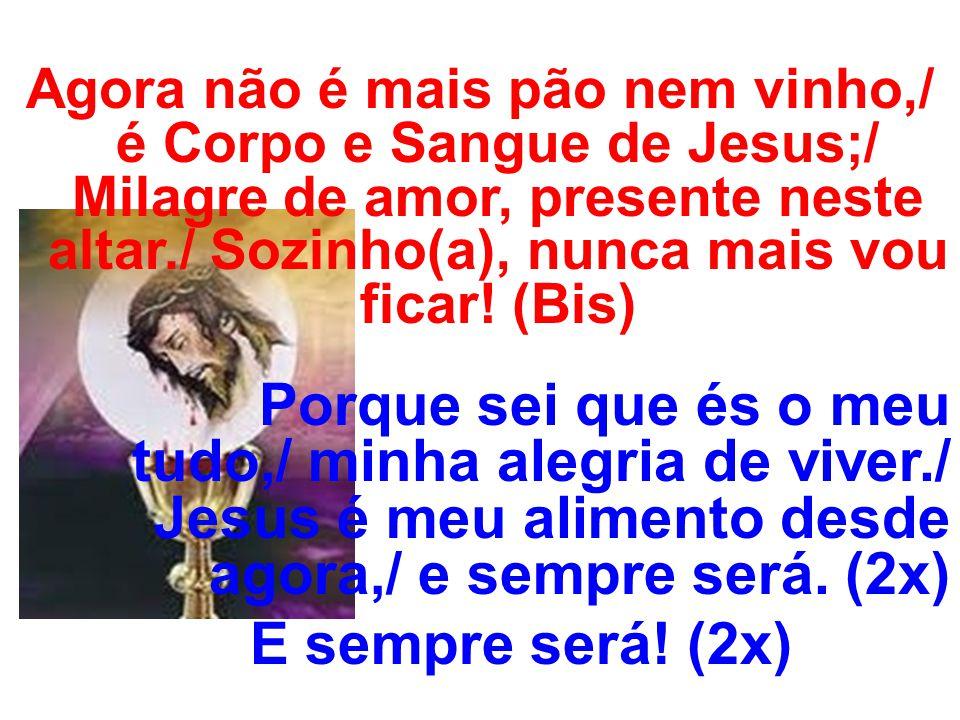 Agora não é mais pão nem vinho,/ é Corpo e Sangue de Jesus;/ Milagre de amor, presente neste altar./ Sozinho(a), nunca mais vou ficar.