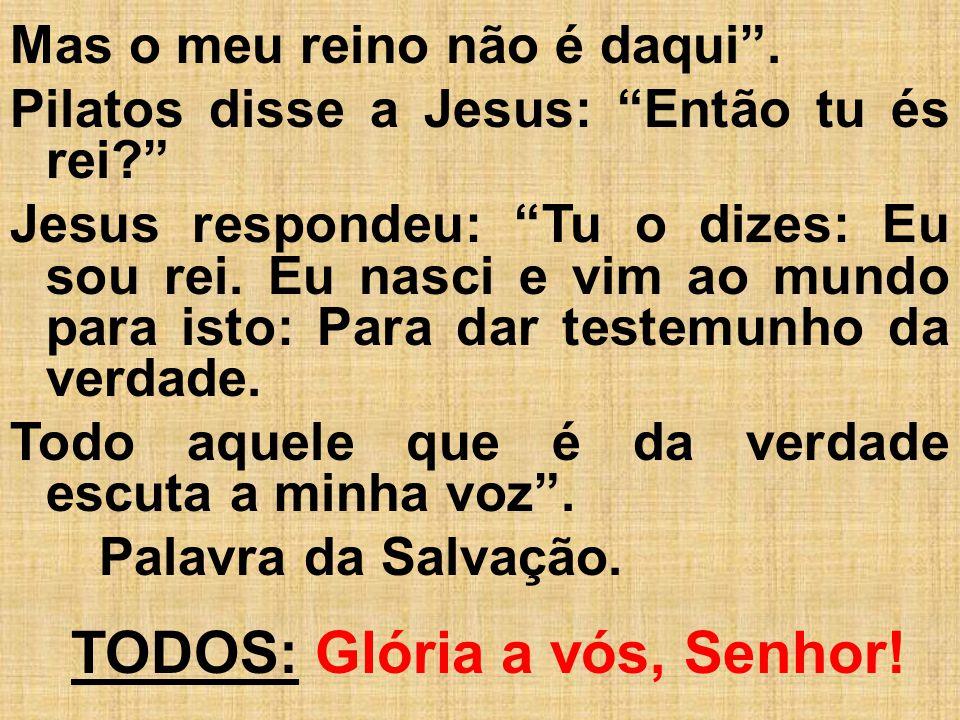 Mas o meu reino não é daqui. Pilatos disse a Jesus: Então tu és rei? Jesus respondeu: Tu o dizes: Eu sou rei. Eu nasci e vim ao mundo para isto: Para