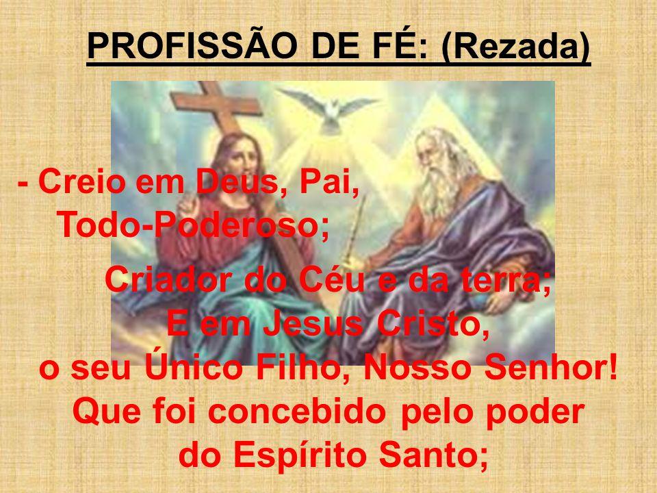 PROFISSÃO DE FÉ: (Rezada) - Creio em Deus, Pai, Todo-Poderoso; Criador do Céu e da terra; E em Jesus Cristo, o seu Único Filho, Nosso Senhor! Que foi