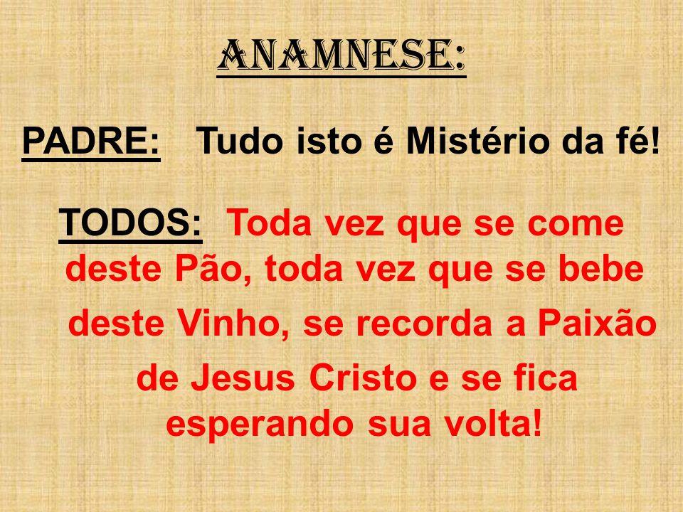 ANAMNESE: PADRE: Tudo isto é Mistério da fé! TODOS: Toda vez que se come deste Pão, toda vez que se bebe deste Vinho, se recorda a Paixão de Jesus Cri