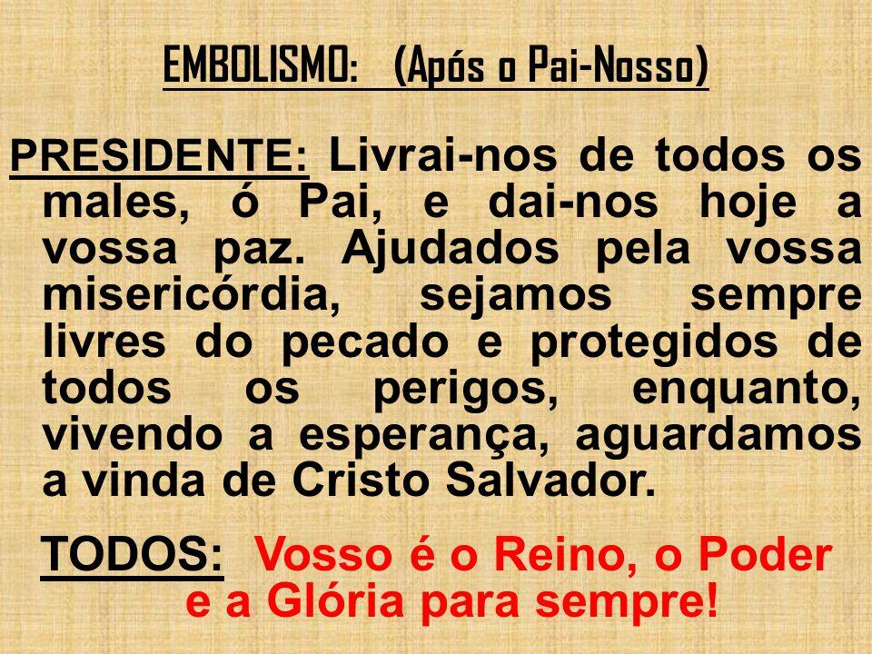 EMBOLISMO: (Após o Pai-Nosso) PRESIDENTE: Livrai-nos de todos os males, ó Pai, e dai-nos hoje a vossa paz. Ajudados pela vossa misericórdia, sejamos s