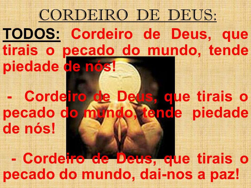 CORDEIRO DE DEUS: TODOS: Cordeiro de Deus, que tirais o pecado do mundo, tende piedade de nós! - Cordeiro de Deus, que tirais o pecado do mundo, tende