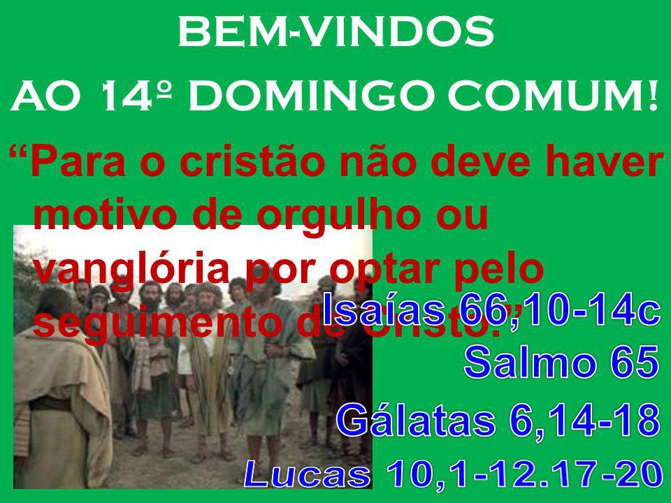 BEM-VINDOS AO 14º DOMINGO COMUM! Para o cristão não deve haver motivo de orgulho ou vanglória por optar pelo seguimento de Cristo.