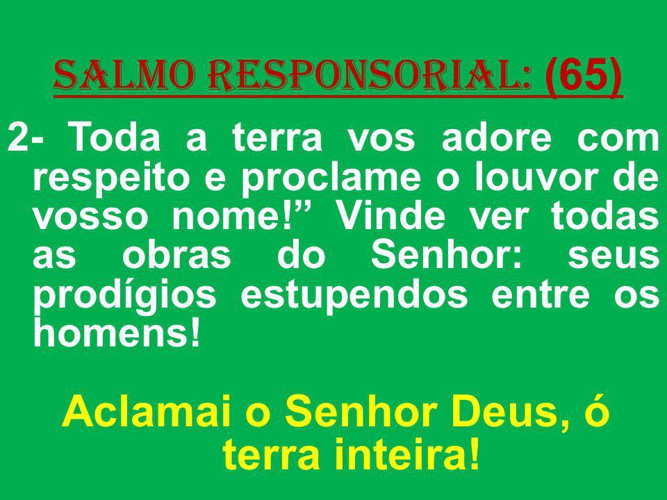 salmo responsorial: (65) 2- Toda a terra vos adore com respeito e proclame o louvor de vosso nome! Vinde ver todas as obras do Senhor: seus prodígios