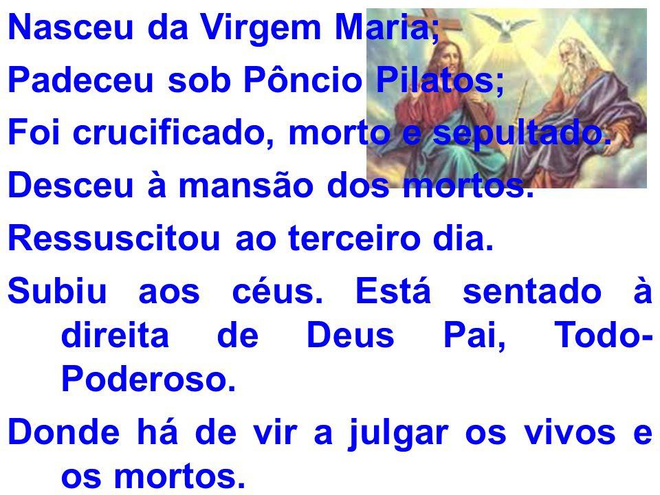 Nasceu da Virgem Maria; Padeceu sob Pôncio Pilatos; Foi crucificado, morto e sepultado. Desceu à mansão dos mortos. Ressuscitou ao terceiro dia. Subiu