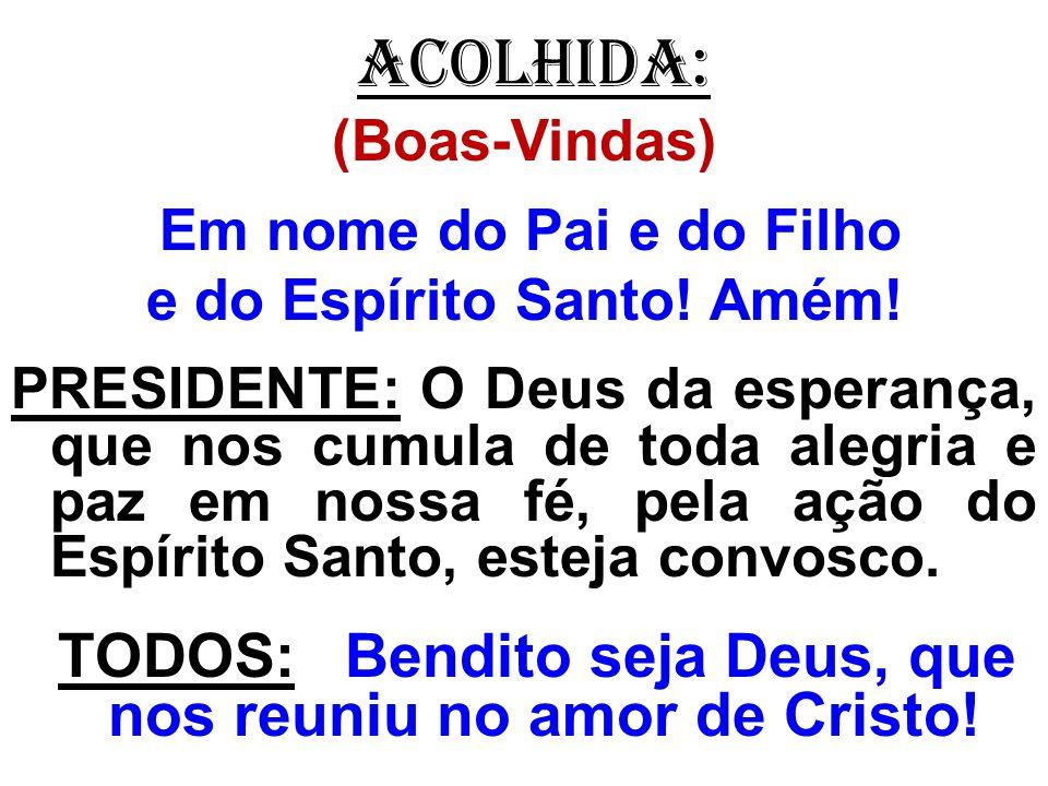 ACOLHIDA: (Boas-Vindas) Em nome do Pai e do Filho e do Espírito Santo! Amém! PRESIDENTE: O Deus da esperança, que nos cumula de toda alegria e paz em