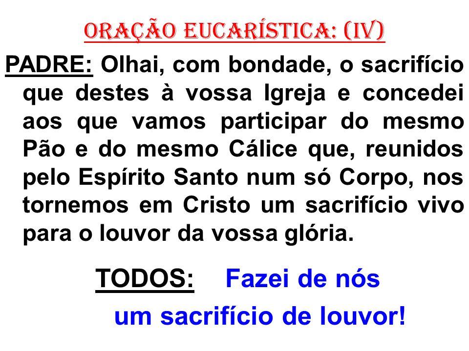 ORAÇÃO EUCARÍSTICA: (IV) PADRE: Olhai, com bondade, o sacrifício que destes à vossa Igreja e concedei aos que vamos participar do mesmo Pão e do mesmo