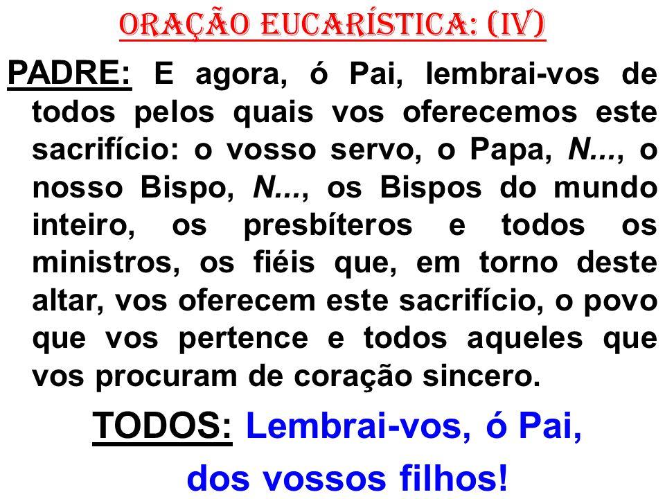 ORAÇÃO EUCARÍSTICA: (IV) PADRE: E agora, ó Pai, lembrai-vos de todos pelos quais vos oferecemos este sacrifício: o vosso servo, o Papa, N..., o nosso