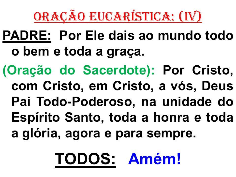 ORAÇÃO EUCARÍSTICA: (IV) PADRE: Por Ele dais ao mundo todo o bem e toda a graça. (Oração do Sacerdote): Por Cristo, com Cristo, em Cristo, a vós, Deus