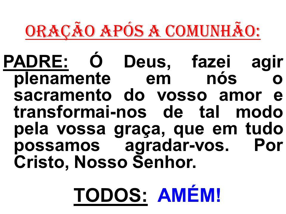 ORAÇÃO APÓS A COMUNHÃO: PADRE: Ó Deus, fazei agir plenamente em nós o sacramento do vosso amor e transformai-nos de tal modo pela vossa graça, que em
