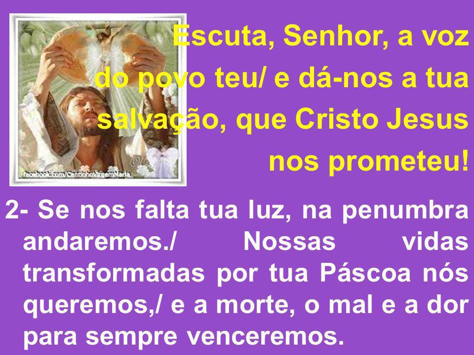 Escuta, Senhor, a voz do povo teu/ e dá-nos a tua salvação, que Cristo Jesus nos prometeu! 2- Se nos falta tua luz, na penumbra andaremos./ Nossas vid