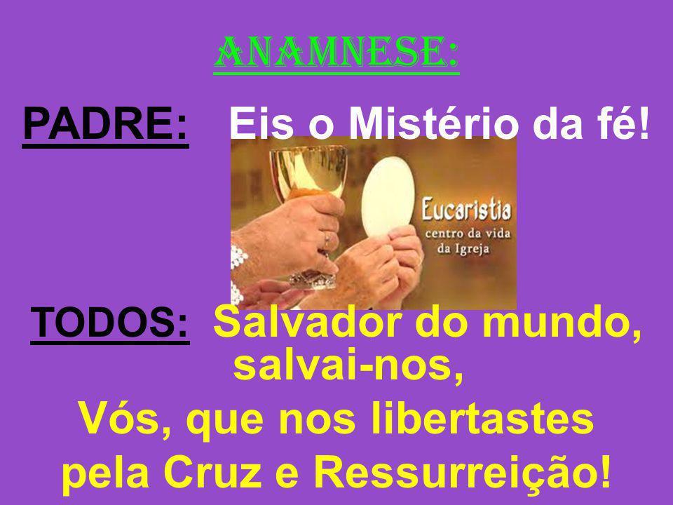 ANAMNESE: PADRE: Eis o Mistério da fé! TODOS: Salvador do mundo, salvai-nos, Vós, que nos libertastes pela Cruz e Ressurreição!
