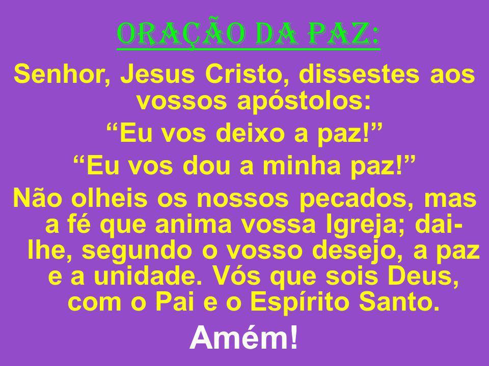 ORAÇÃO DA PAZ: Senhor, Jesus Cristo, dissestes aos vossos apóstolos: Eu vos deixo a paz! Eu vos dou a minha paz! Não olheis os nossos pecados, mas a f
