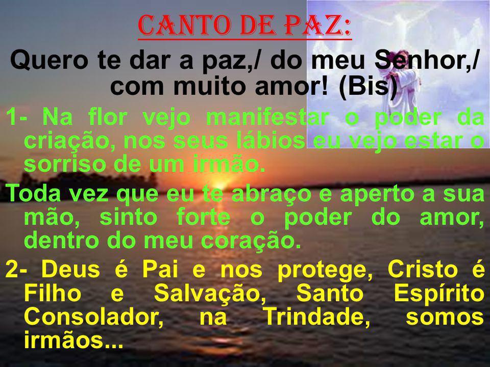 canto de paz: Quero te dar a paz,/ do meu Senhor,/ com muito amor! (Bis) 1- Na flor vejo manifestar o poder da criação, nos seus lábios eu vejo estar
