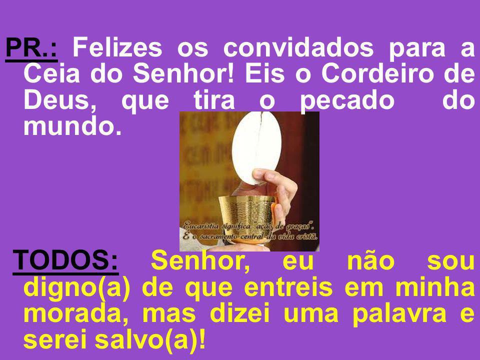 PR.: Felizes os convidados para a Ceia do Senhor! Eis o Cordeiro de Deus, que tira o pecado do mundo. TODOS: Senhor, eu não sou digno(a) de que entrei