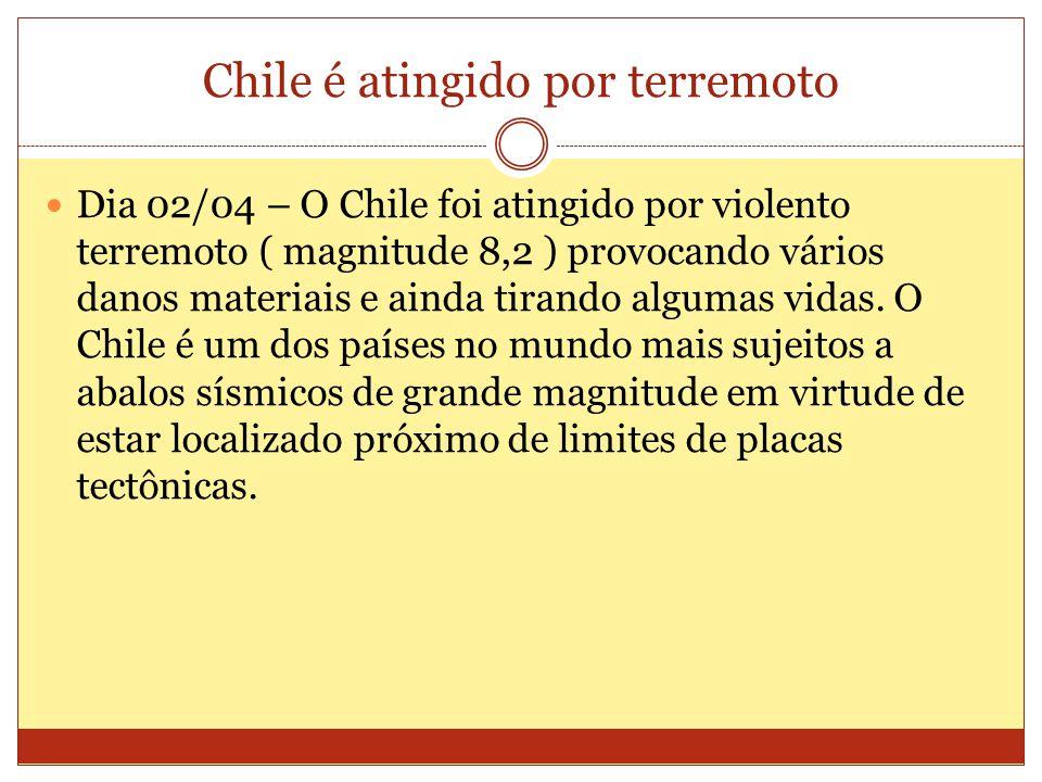 Chile é atingido por terremoto Dia 02/04 – O Chile foi atingido por violento terremoto ( magnitude 8,2 ) provocando vários danos materiais e ainda tirando algumas vidas.