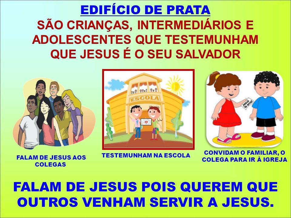 TESTEMUNHAM NA ESCOLA CONVIDAM O FAMILIAR, O COLEGA PARA IR À IGREJA FALAM DE JESUS POIS QUEREM QUE OUTROS VENHAM SERVIR A JESUS. FALAM DE JESUS AOS C