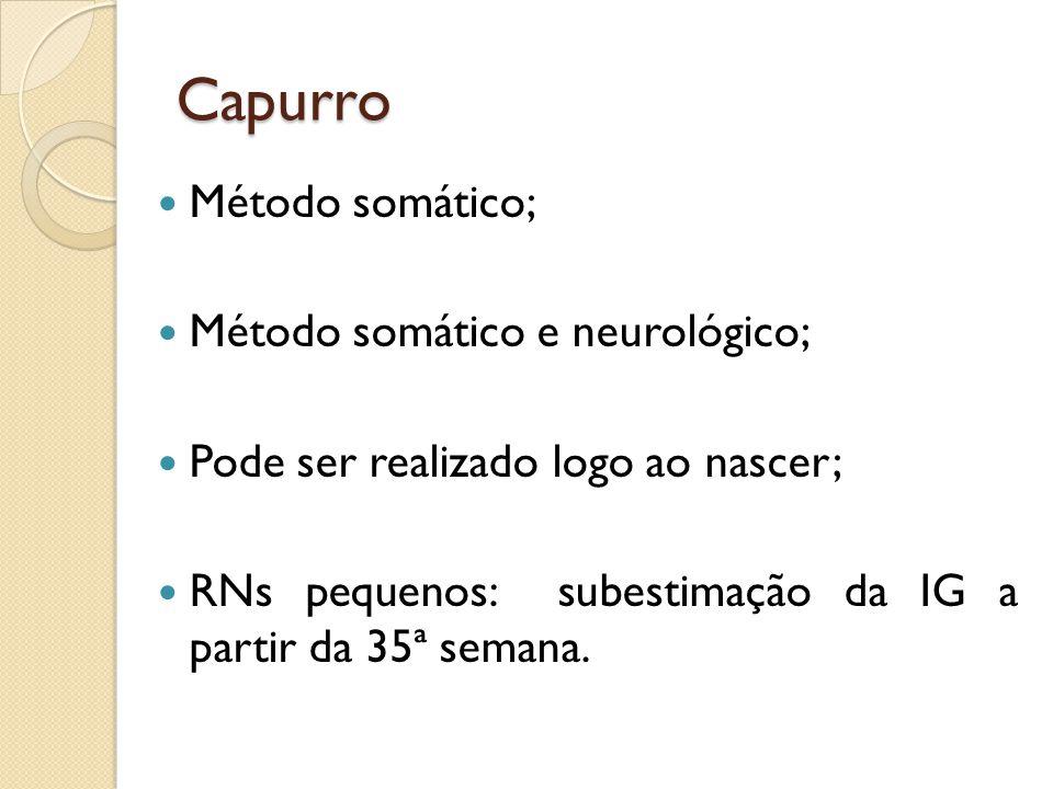Capurro Método somático; Método somático e neurológico; Pode ser realizado logo ao nascer; RNs pequenos: subestimação da IG a partir da 35ª semana.