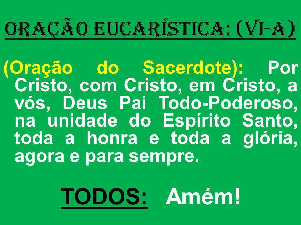 ORAÇÃO EUCARÍSTICA: (VI-A) (Oração do Sacerdote): Por Cristo, com Cristo, em Cristo, a vós, Deus Pai Todo-Poderoso, na unidade do Espírito Santo, toda