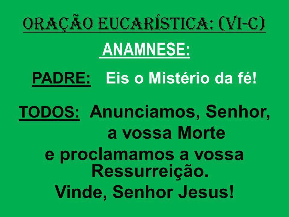 ORAÇÃO EUCARÍSTICA: (VI-C) ANAMNESE: PADRE: Eis o Mistério da fé! TODOS: Anunciamos, Senhor, a vossa Morte e proclamamos a vossa Ressurreição. Vinde,