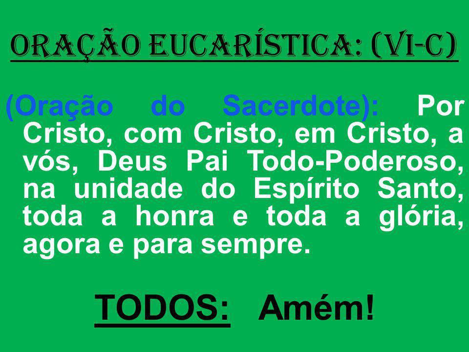 ORAÇÃO EUCARÍSTICA: (VI-C) (Oração do Sacerdote): Por Cristo, com Cristo, em Cristo, a vós, Deus Pai Todo-Poderoso, na unidade do Espírito Santo, toda