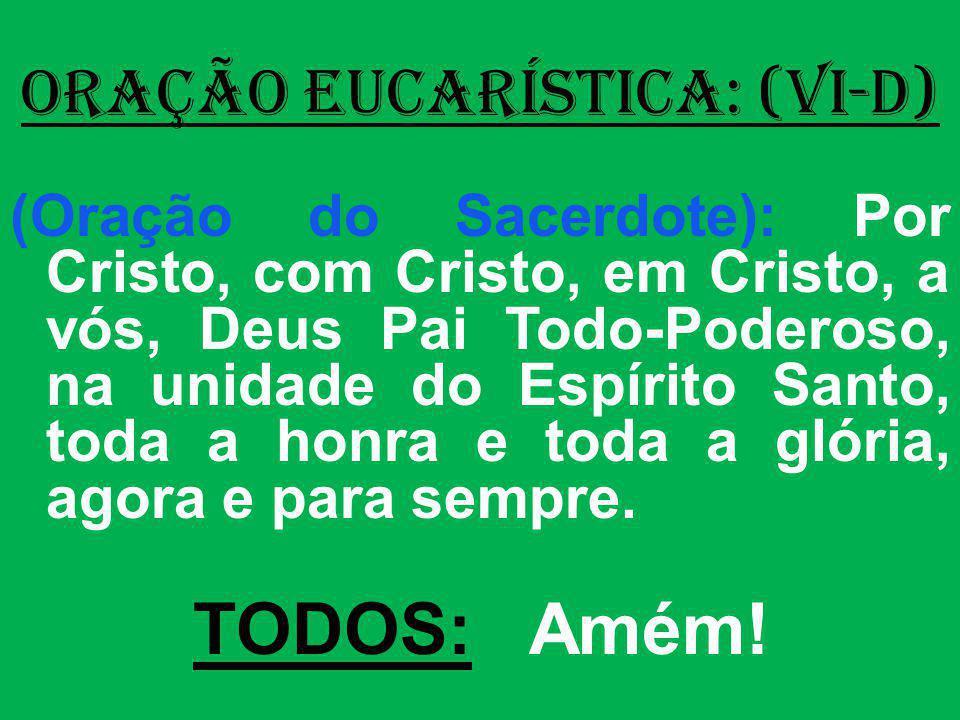 ORAÇÃO EUCARÍSTICA: (VI-D) (Oração do Sacerdote): Por Cristo, com Cristo, em Cristo, a vós, Deus Pai Todo-Poderoso, na unidade do Espírito Santo, toda