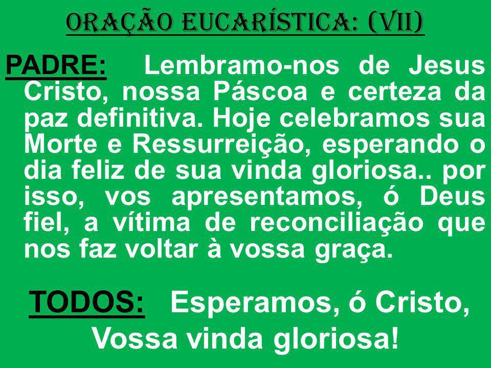 ORAÇÃO EUCARÍSTICA: (VII) PADRE: Lembramo-nos de Jesus Cristo, nossa Páscoa e certeza da paz definitiva. Hoje celebramos sua Morte e Ressurreição, esp