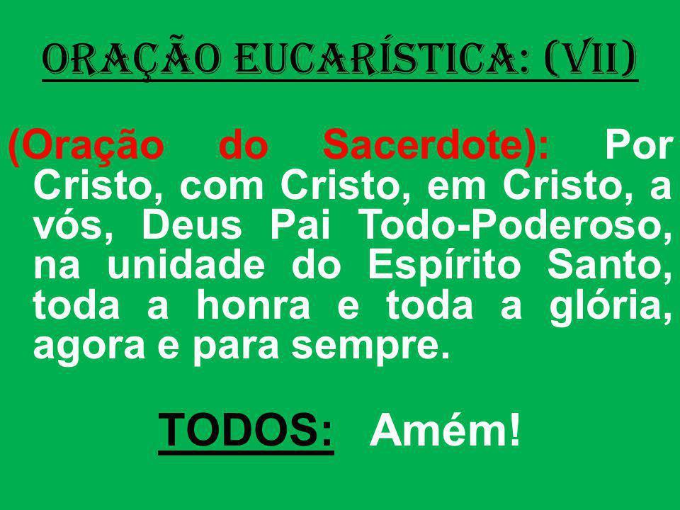 ORAÇÃO EUCARÍSTICA: (VII) (Oração do Sacerdote): Por Cristo, com Cristo, em Cristo, a vós, Deus Pai Todo-Poderoso, na unidade do Espírito Santo, toda