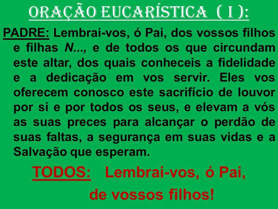 ORAÇÃO EUCARÍSTICA(II): (Prefácio-O Mistério Pascal) PADRE: O Senhor esteja convosco.
