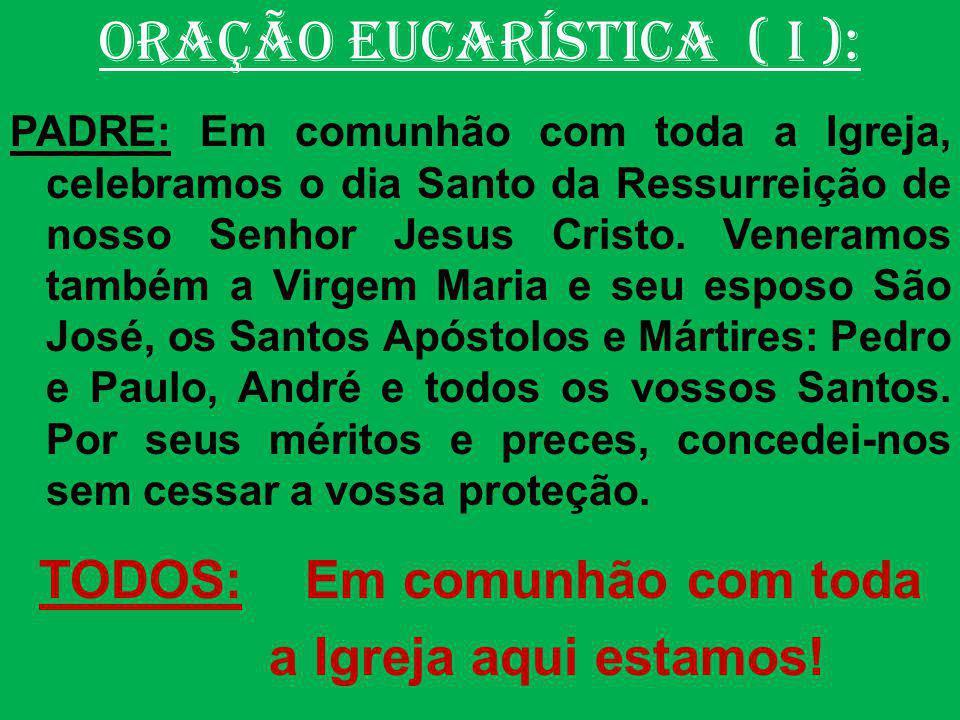 ORAÇÃO EUCARÍSTICA: ( V ) Prefácio: Cristo, Rei do universo PADRE: O Senhor esteja convosco.