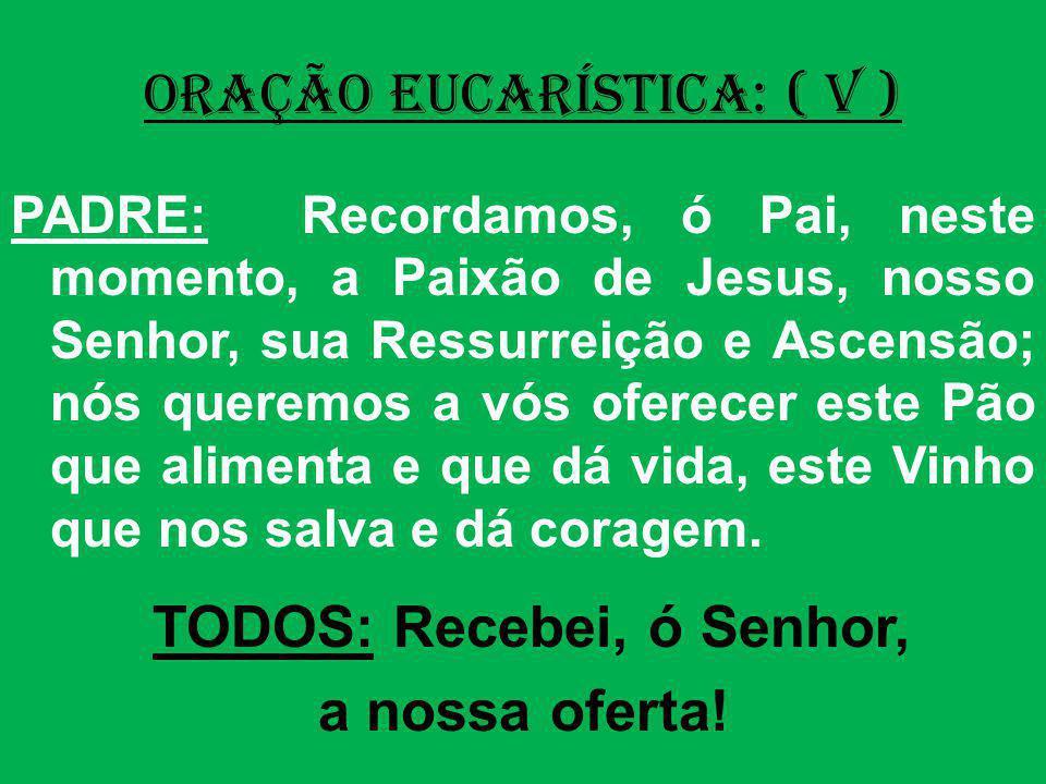 ORAÇÃO EUCARÍSTICA: ( V ) PADRE: Recordamos, ó Pai, neste momento, a Paixão de Jesus, nosso Senhor, sua Ressurreição e Ascensão; nós queremos a vós of