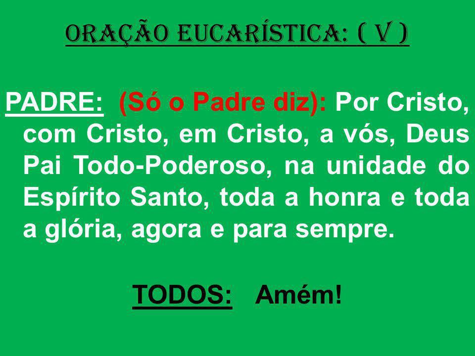 ORAÇÃO EUCARÍSTICA: ( V ) PADRE: (Só o Padre diz): Por Cristo, com Cristo, em Cristo, a vós, Deus Pai Todo-Poderoso, na unidade do Espírito Santo, tod