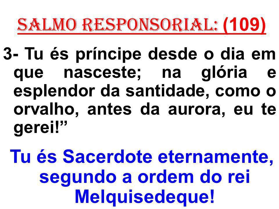 salmo responsorial: (109) 3- Tu és príncipe desde o dia em que nasceste; na glória e esplendor da santidade, como o orvalho, antes da aurora, eu te gerei.