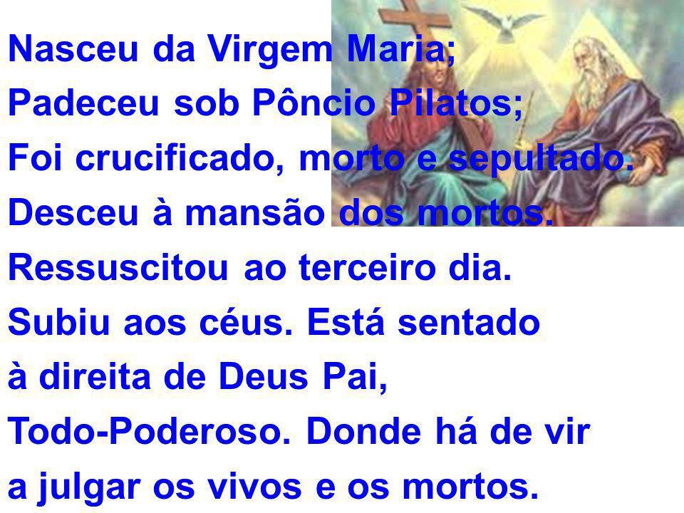 Nasceu da Virgem Maria; Padeceu sob Pôncio Pilatos; Foi crucificado, morto e sepultado.