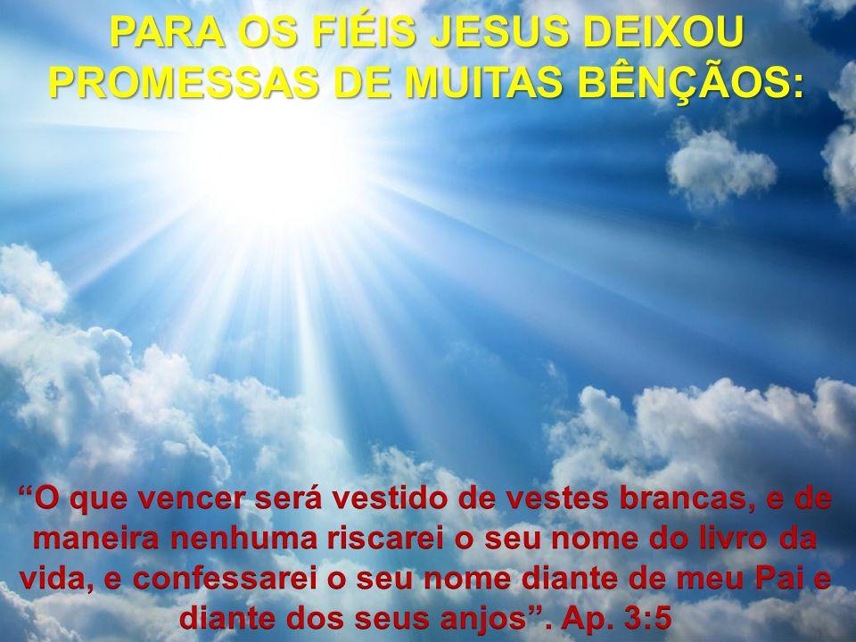 PARA OS FIÉIS JESUS DEIXOU PROMESSAS DE MUITAS BÊNÇÃOS:
