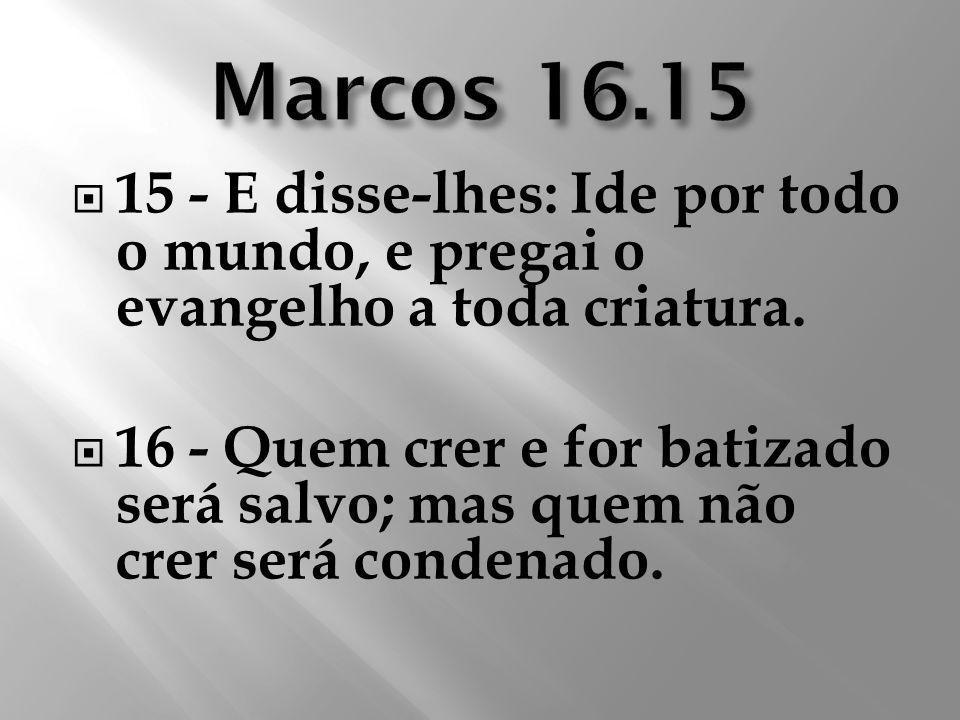 15 - E disse-lhes: Ide por todo o mundo, e pregai o evangelho a toda criatura. 16 - Quem crer e for batizado será salvo; mas quem não crer será conden