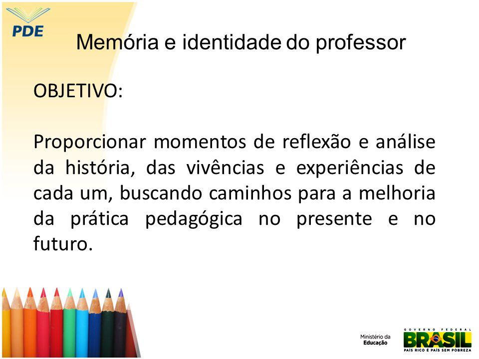 OBJETIVO: Proporcionar momentos de reflexão e análise da história, das vivências e experiências de cada um, buscando caminhos para a melhoria da prática pedagógica no presente e no futuro.