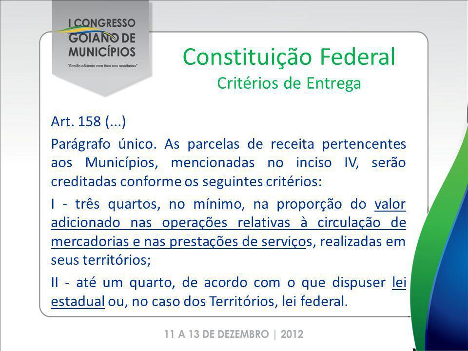 Constituição Federal Critérios de Entrega Art. 158 (...) Parágrafo único. As parcelas de receita pertencentes aos Municípios, mencionadas no inciso IV