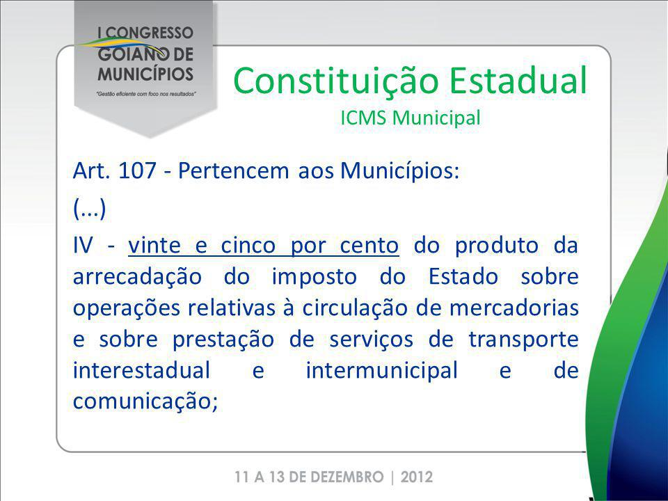Constituição Estadual ICMS Municipal Art. 107 - Pertencem aos Municípios: (...) IV - vinte e cinco por cento do produto da arrecadação do imposto do E