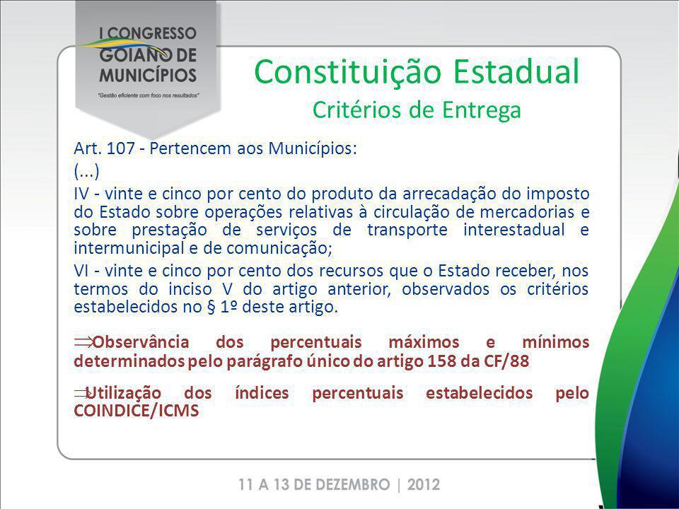 Constituição Estadual Critérios de Entrega Art. 107 - Pertencem aos Municípios: (...) IV - vinte e cinco por cento do produto da arrecadação do impost
