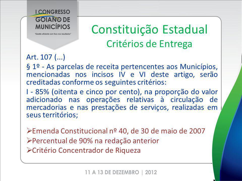 Constituição Estadual Critérios de Entrega Art. 107 (...) § 1º - As parcelas de receita pertencentes aos Municípios, mencionadas nos incisos IV e VI d
