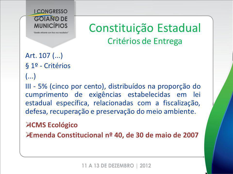Constituição Estadual Critérios de Entrega Art. 107 (...) § 1º - Critérios (...) III - 5% (cinco por cento), distribuídos na proporção do cumprimento