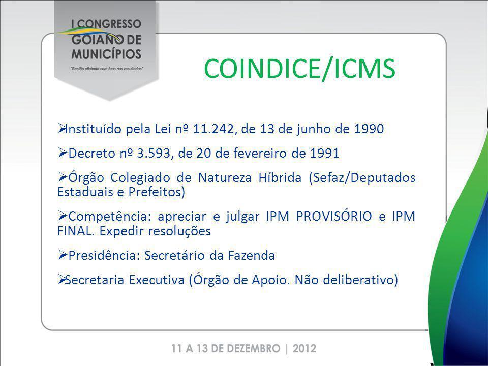 COINDICE/ICMS Instituído pela Lei nº 11.242, de 13 de junho de 1990 Decreto nº 3.593, de 20 de fevereiro de 1991 Órgão Colegiado de Natureza Híbrida (Sefaz/Deputados Estaduais e Prefeitos) Competência: apreciar e julgar IPM PROVISÓRIO e IPM FINAL.