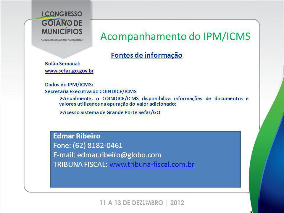 Acompanhamento do IPM/ICMS Fontes de informação Bolão Semanal: www.sefaz.go.gov.br Dados do IPM/ICMS: Secretaria Executiva do COINDICE/ICMS Anualmente
