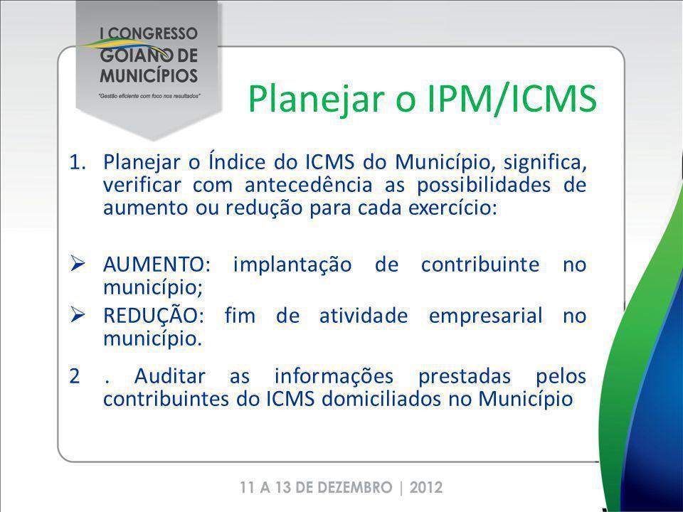 Planejar o IPM/ICMS 1.Planejar o Índice do ICMS do Município, significa, verificar com antecedência as possibilidades de aumento ou redução para cada