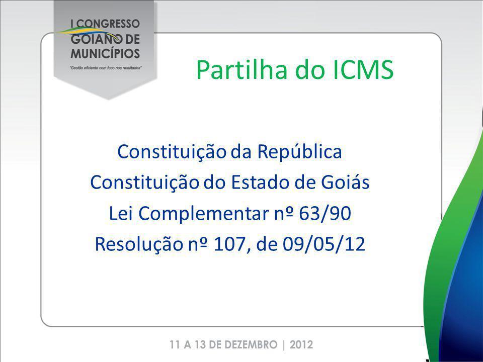 Partilha do ICMS Constituição da República Constituição do Estado de Goiás Lei Complementar nº 63/90 Resolução nº 107, de 09/05/12