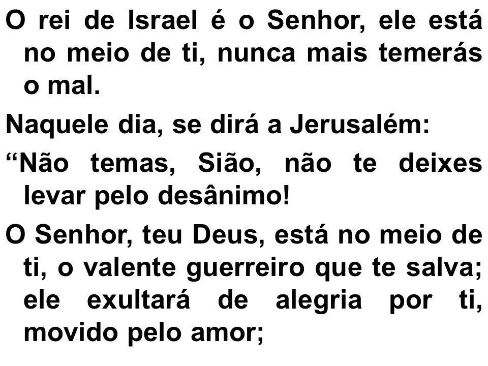 O rei de Israel é o Senhor, ele está no meio de ti, nunca mais temerás o mal. Naquele dia, se dirá a Jerusalém: Não temas, Sião, não te deixes levar p