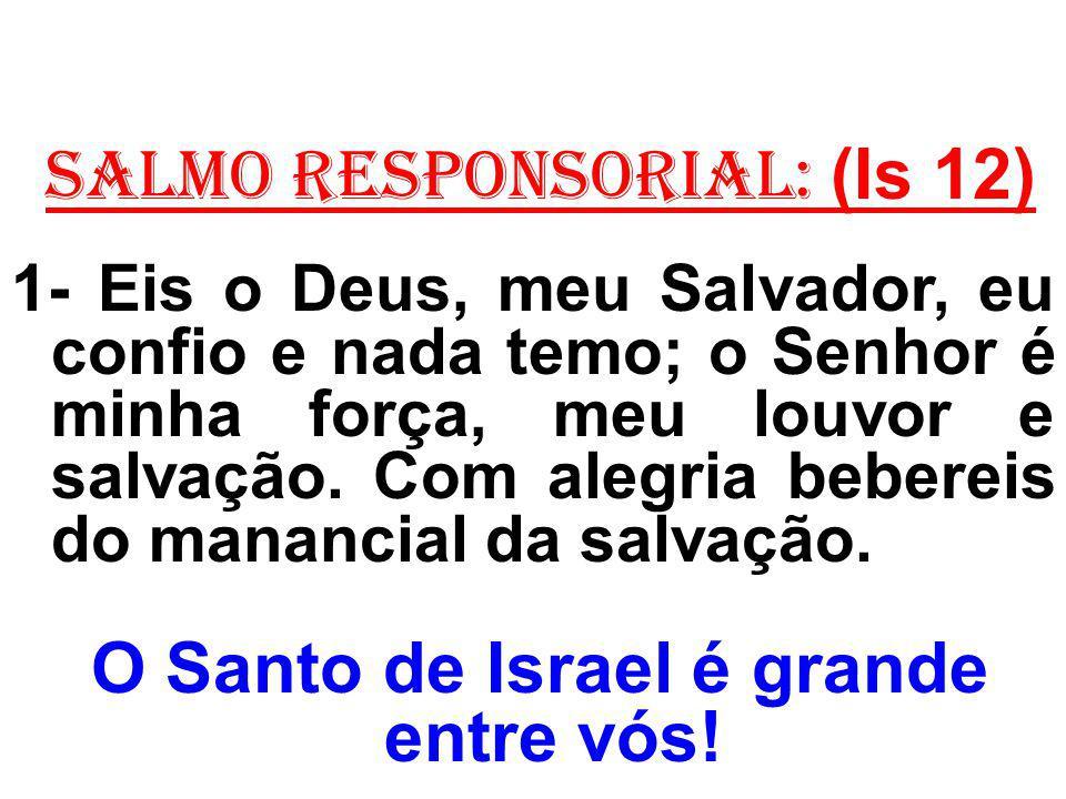 salmo responsorial: (Is 12) 1- Eis o Deus, meu Salvador, eu confio e nada temo; o Senhor é minha força, meu louvor e salvação. Com alegria bebereis do