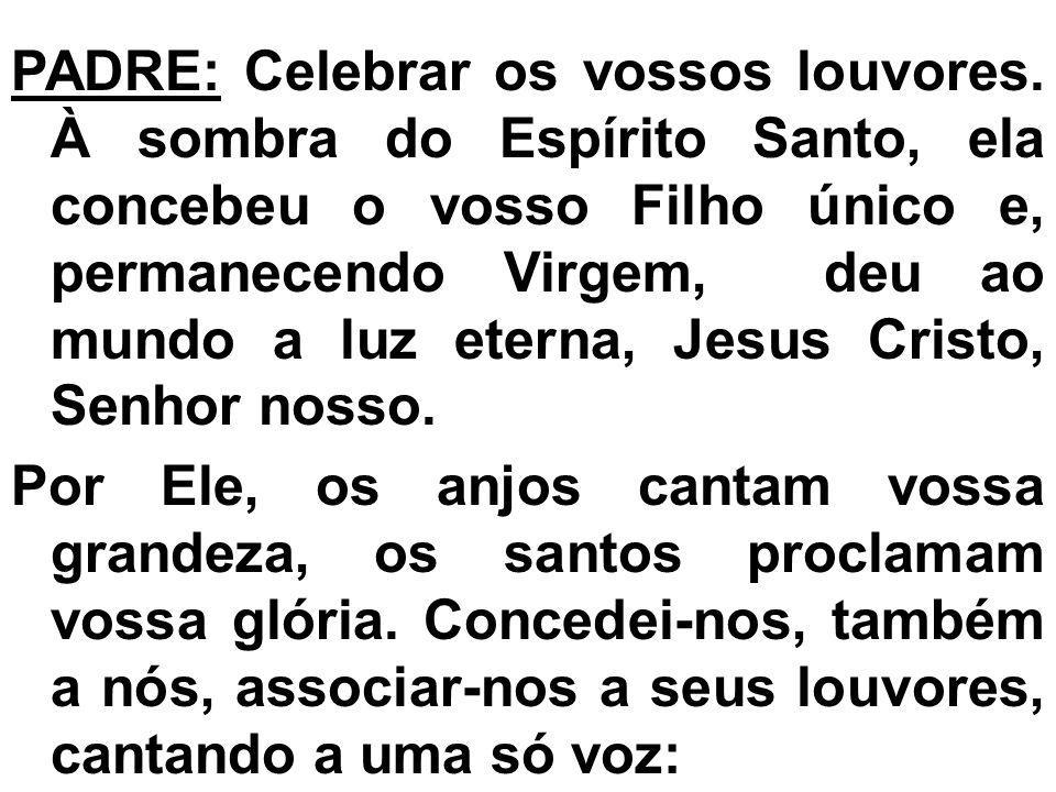 PADRE: Celebrar os vossos louvores. À sombra do Espírito Santo, ela concebeu o vosso Filho único e, permanecendo Virgem, deu ao mundo a luz eterna, Je