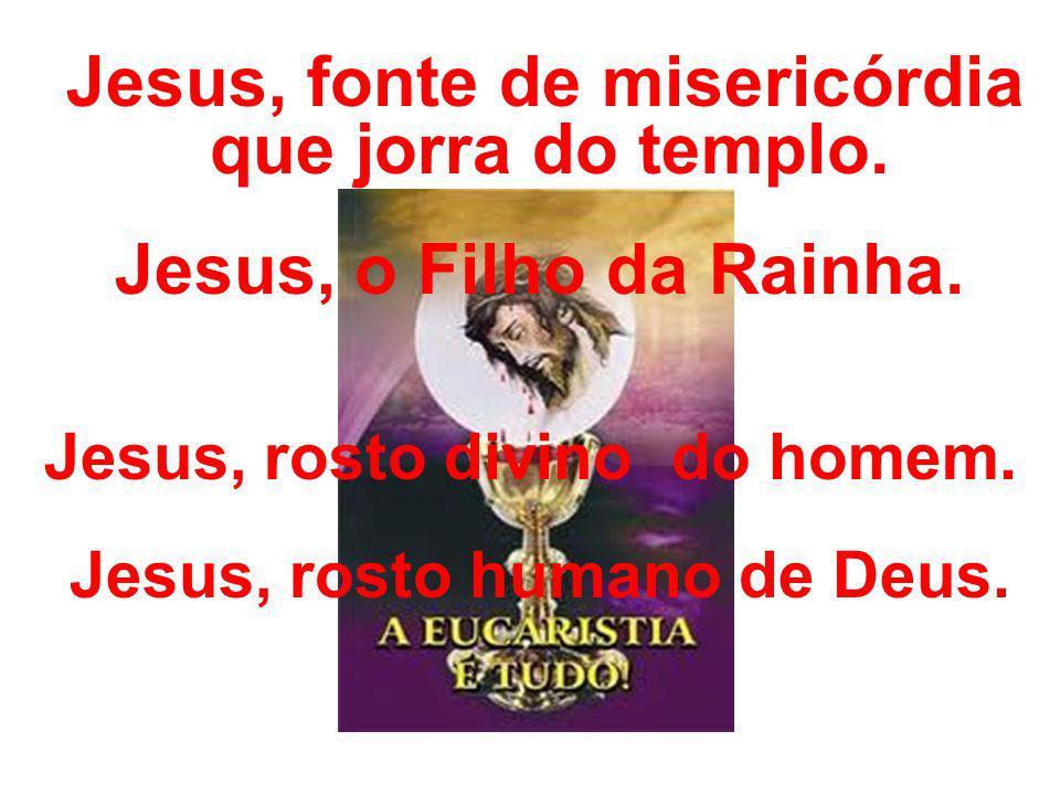 Jesus, fonte de misericórdia que jorra do templo. Jesus, o Filho da Rainha. Jesus, rosto divino do homem. Jesus, rosto humano de Deus.
